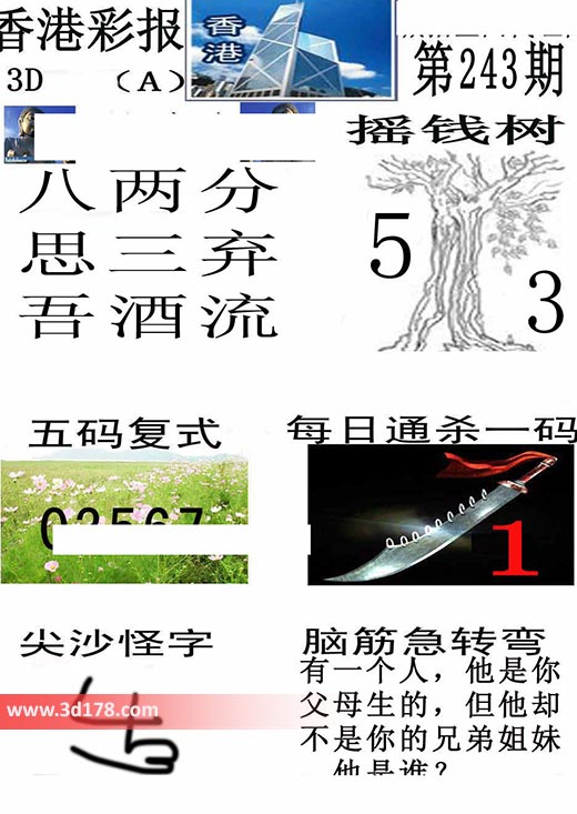 香港彩报3d第2019243期推荐摇钱树:5 3