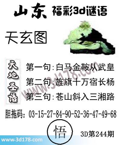 3d第2019244期丹东天玄第一句:白马金鞍从武皇