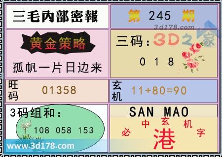 第2019245期3d三毛内部密报旺码推荐:01358