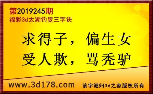 3d第2019245期太湖图库解字谜:求得子,偏生女