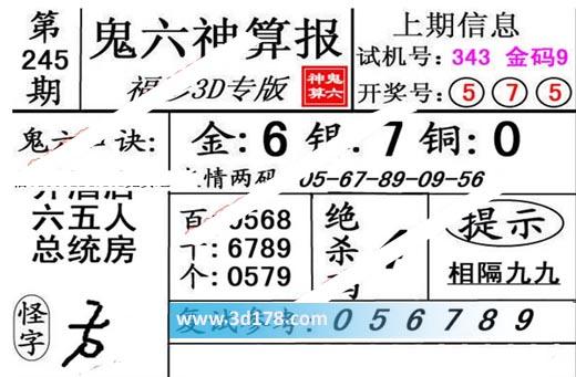 鬼六神算报3d第2019245期推荐个位:0579