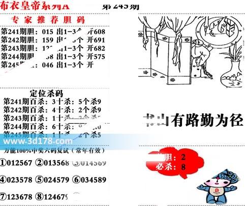 3d布衣皇帝第2019245期推荐独胆:2