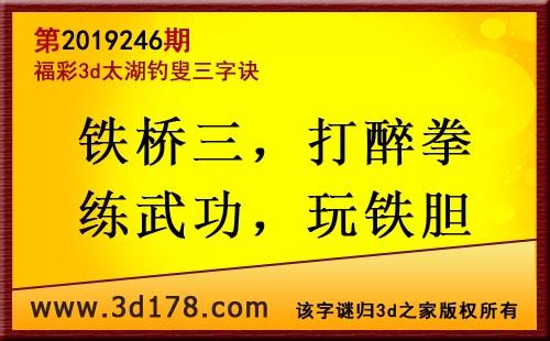 3d第2019246期太湖图库解字谜:铁桥三,打醉拳