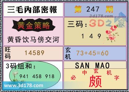 第2019247期3d三毛内部密报三码推荐:149