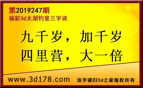 3d第2019247期太湖图库解字谜:九千岁,加千岁
