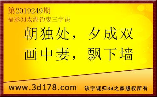 3d第2019249期太湖图库解字谜:夕成双,画中妻