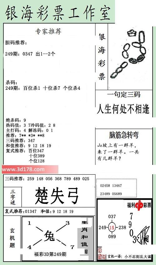 银海布衣3d第2019249期推荐三字谜:楚失弓