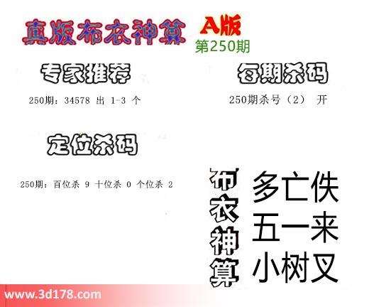 3d第2019250期真版布推荐杀号:杀2