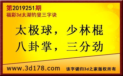 3d第2019251期太湖图库解字谜:太极球,少林棍