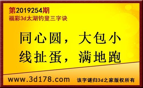 3d第2019254期太湖图库解字谜:同心圆,大包小