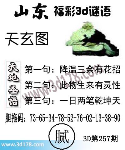 3d第2019257期丹东天玄第一句:降温三余有花招