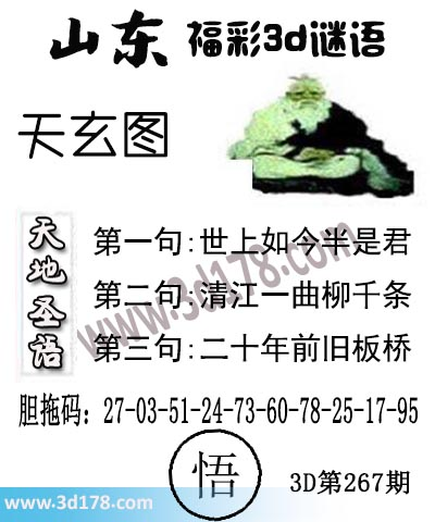 3d第2019267期丹东天玄第二句:清江一曲柳千条