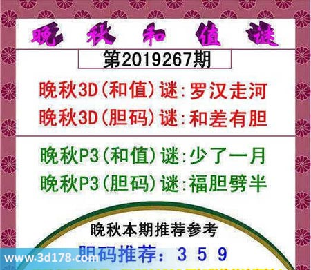 3d红五晚秋图第2019267期推荐和值谜:罗汉走河