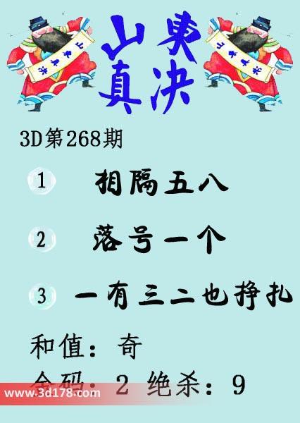 3d山东真诀图第2019268期推荐金码:2