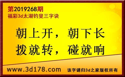 3d第2019268期太湖图库解字谜: 朝上开,朝下长
