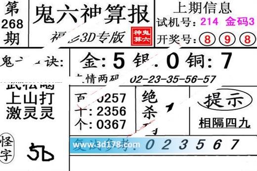 鬼六神算报3d第2019268期推荐百位:0257