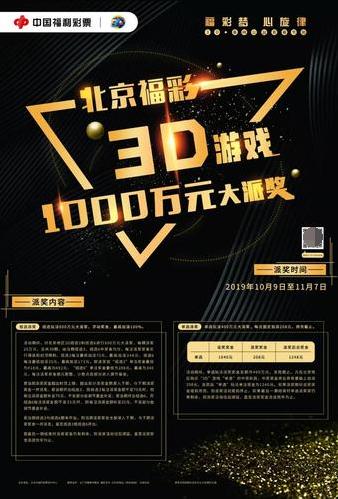 北京福彩3D游戏1000万元大派奖