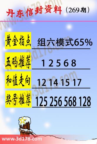 丹东信封资料图3d第2019269期黄金指点:组六模式65%