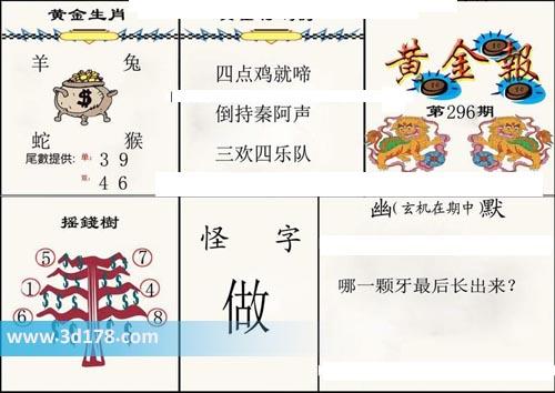 3d第2019296期黄金报推荐黄金生肖:羊兔蛇猴