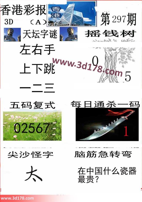 香港彩报3d第2019297期推荐摇钱树:0 5