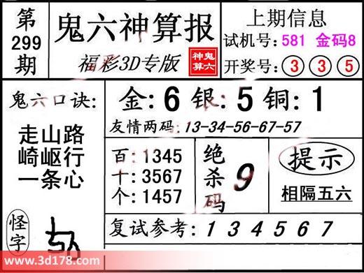 鬼六神算报3d第2019299期推荐金胆:6