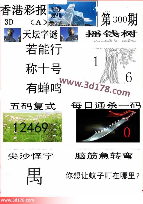 香港彩报3d第2019300期推荐每日通杀一码:0
