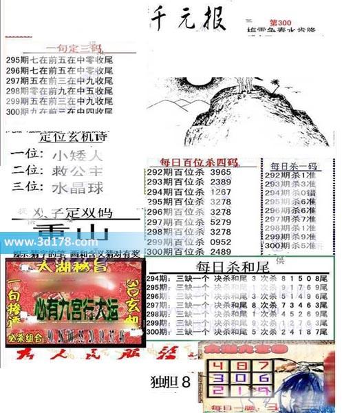 布衣千元报3d第2019300期推荐每日百位杀四码:2489