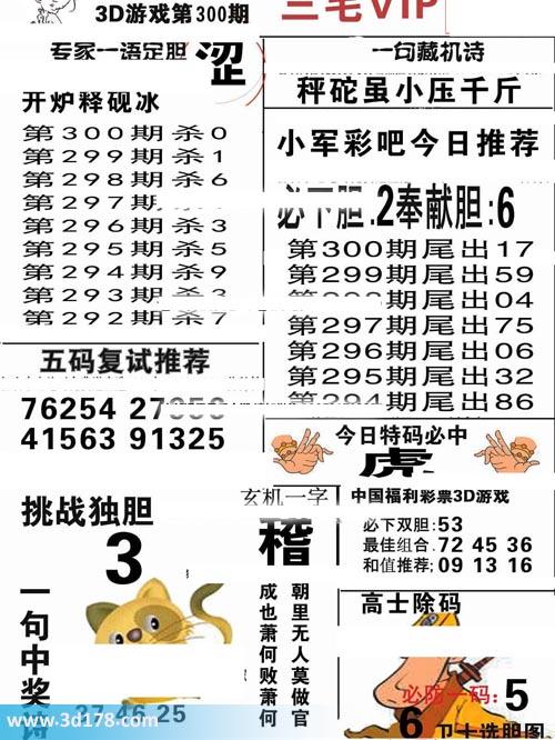 三毛图库3d第2019300期玄机一字:稽
