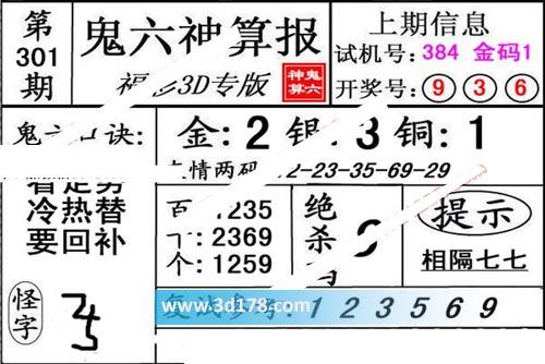 鬼六神算报3d第2019301期推荐绝杀码:8