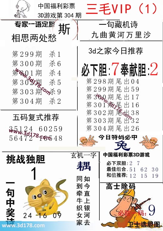 三毛图库3d第2019304期今日特码必中:兔