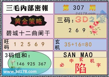 第2019307期3d三毛内部密报三码推荐:269