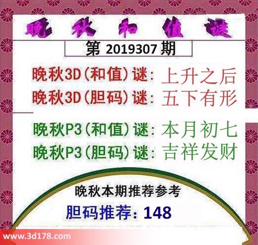3d红五晚秋图第2019307期胆码推荐:148