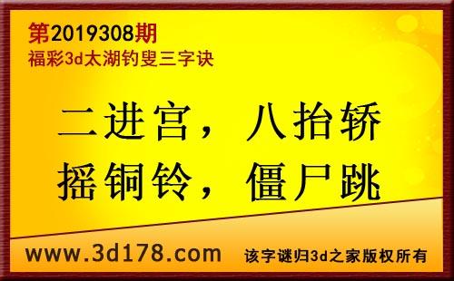 3d第2019308期太湖图库解字谜:二进宫,八抬轿