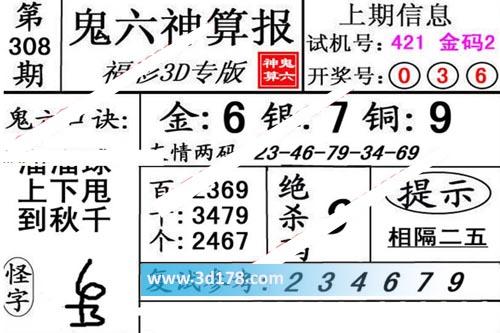 鬼六神算报3d第2019308期推荐绝杀码:8
