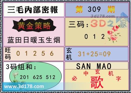 第2019309期3d三毛内部密报旺码推荐:01256