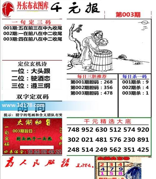 布衣千元报3d第2020003期推荐每日杀一码:1