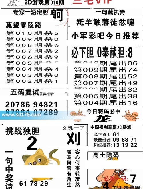 三毛图库3d第2020010期今日特码必中:龙