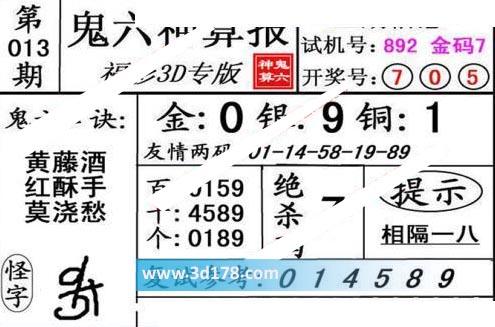 鬼六神算报3d第2020013期推荐鬼六口诀:黄藤酒