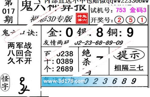 鬼六神算报3d第2020017期推荐复式参考:023689
