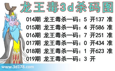龙王毒3d杀码图分析3d第2020019期杀一码:3