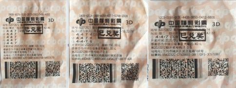 福彩3d第2020013期倍投中奖票样