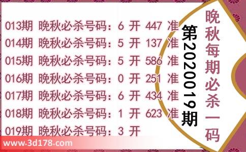 3d第2020019期晚秋杀码图:杀一码3