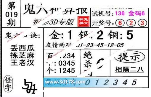 鬼六神算报3d第2020019期推荐绝杀码:6