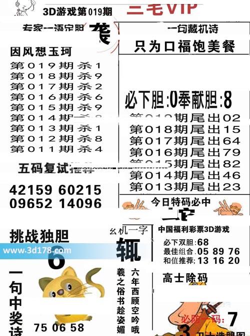 三毛图库3d第2020019期今日玄机一字:辄