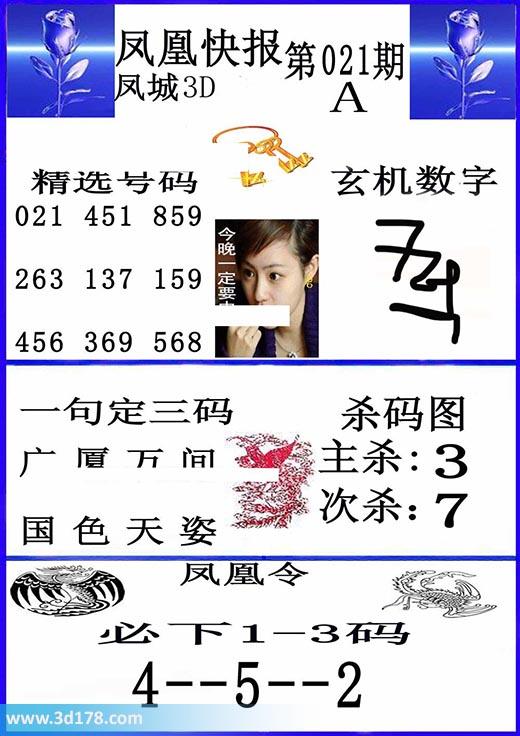 3d凤凰快报第2020021期杀码推荐:次杀7