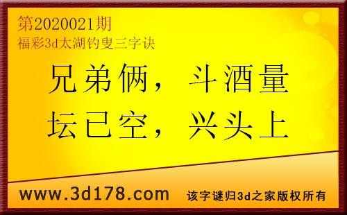 3d第2020021期太湖图库解字谜:兄弟俩,斗酒量
