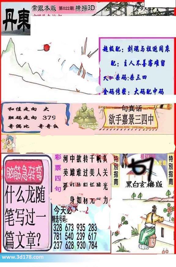 3d第2020022期丹东快报推荐胆码走向:379