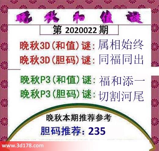 3d红五晚秋图第2020022期胆码谜推荐:同福同出