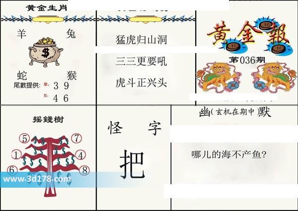 3d第2020036期黄金报推荐黄金特码诗:猛虎归山洞