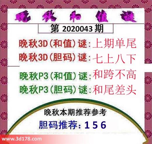 3d红五晚秋图第2020043期胆码谜:七上八下